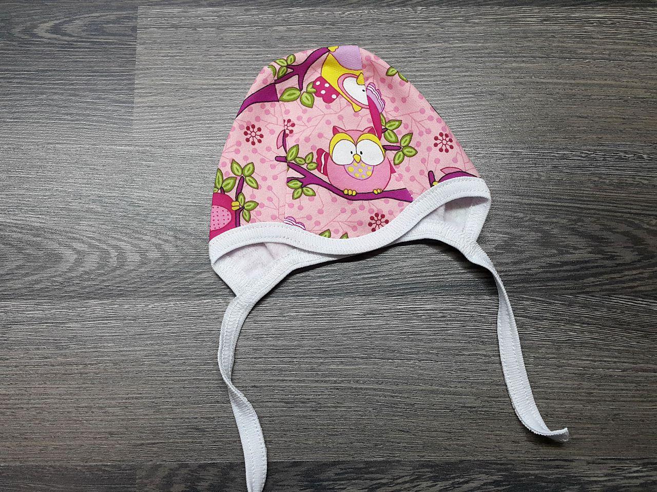 Чепчик тёплый для малыша розовый с совами