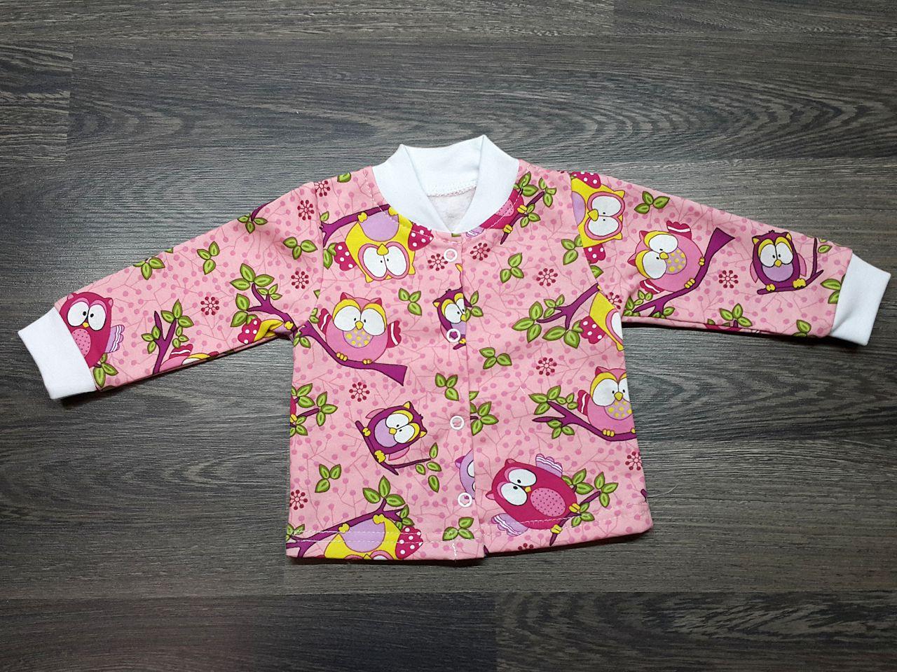 Кофта детская тёплая розовая с совами