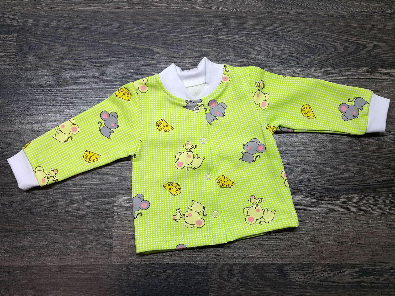 Кофта детская тёплая зеленая с мышками
