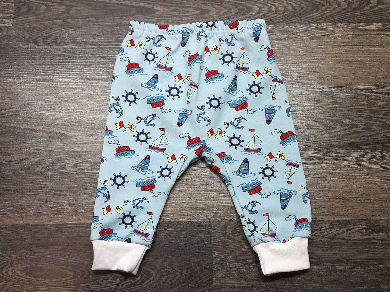 Штаны для малышей тёплые голубые с корбалями