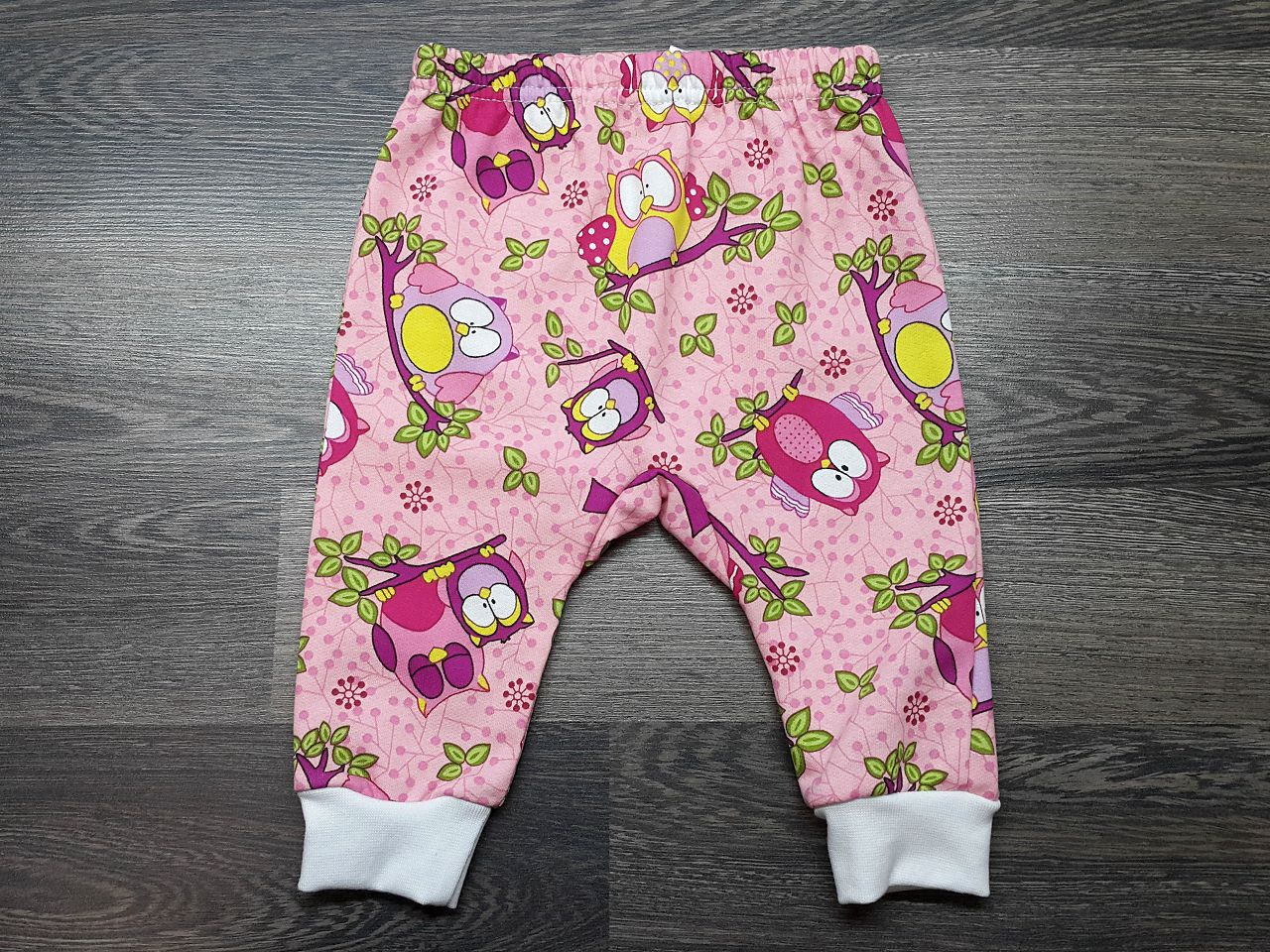 Штаны для малышей тёплые розовые с совами