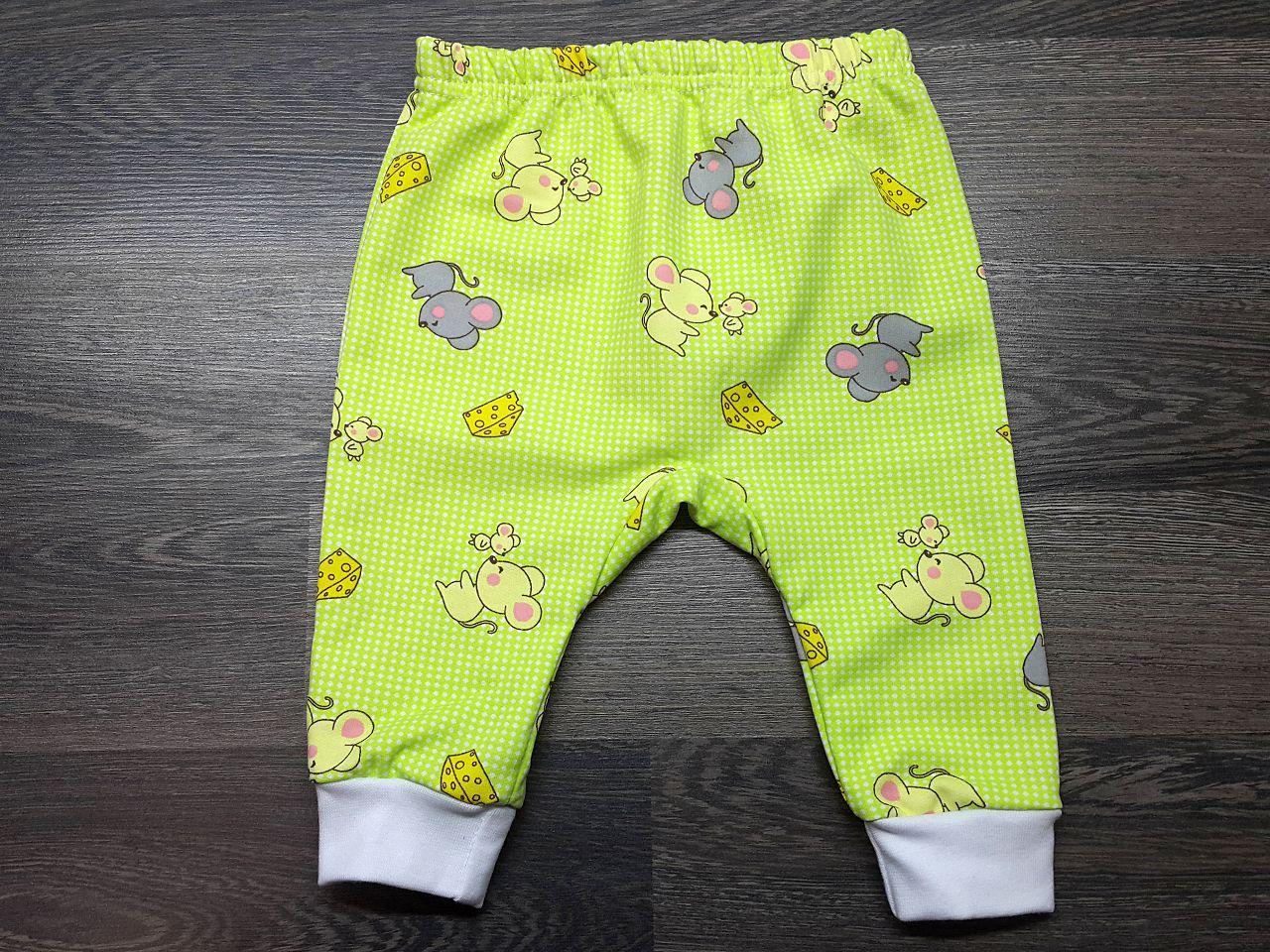 Штаны для малышей тёплые зелёные с мышками
