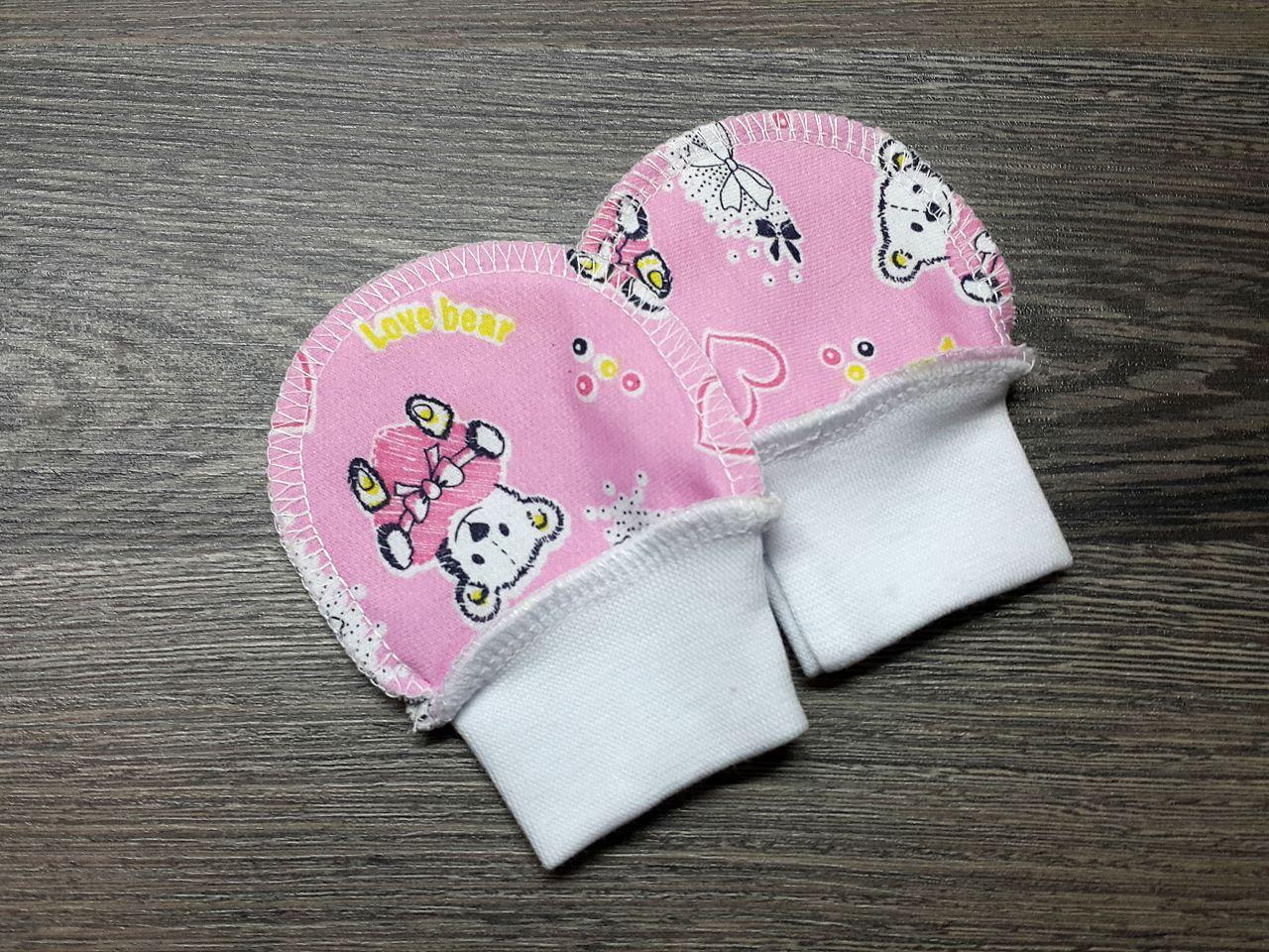 Царапки тёплые розовые с мишками