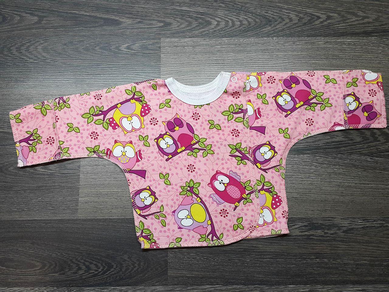 Распашонка на кнопке розовая с совами