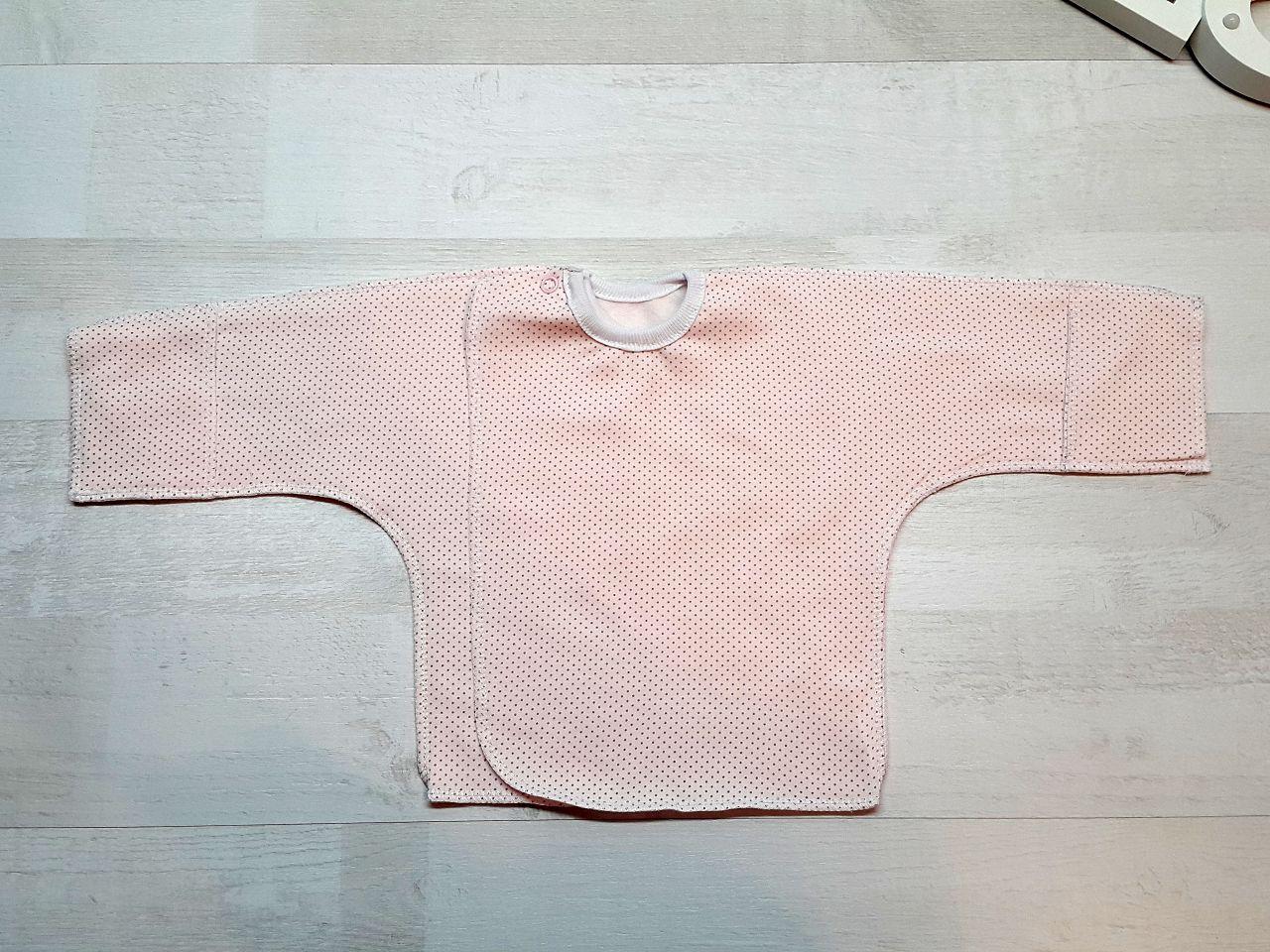 Распашонка на кнопке с царапкой (футер) розовая