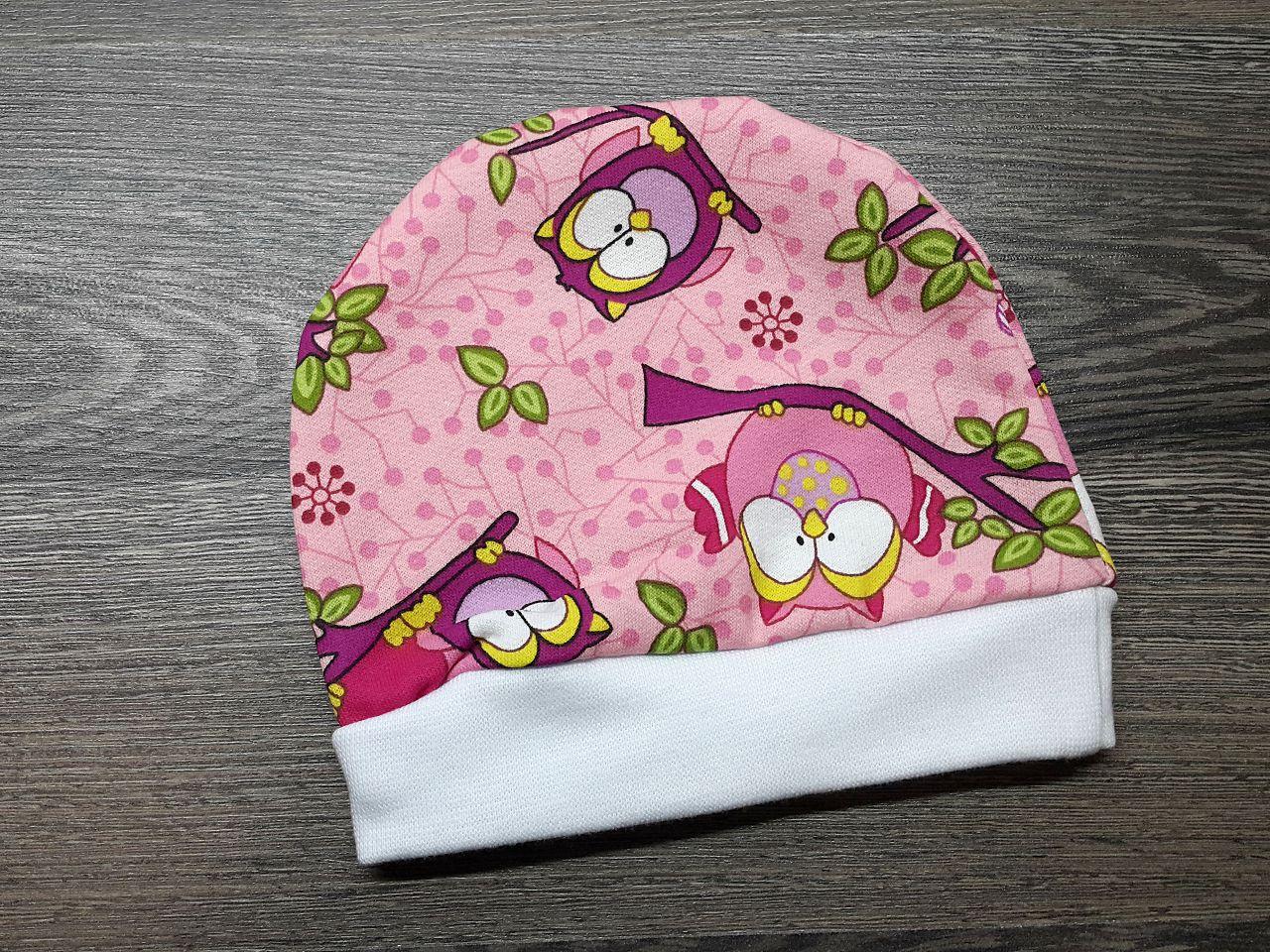 Шапочка детская тёплая розовая с совами