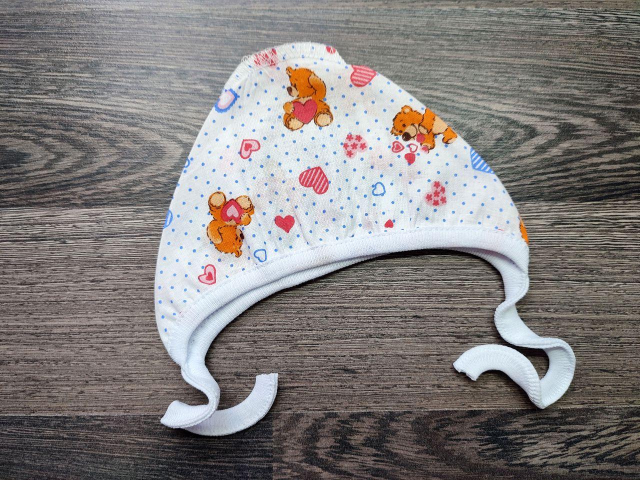 Чепчик для малыша ситец мишки